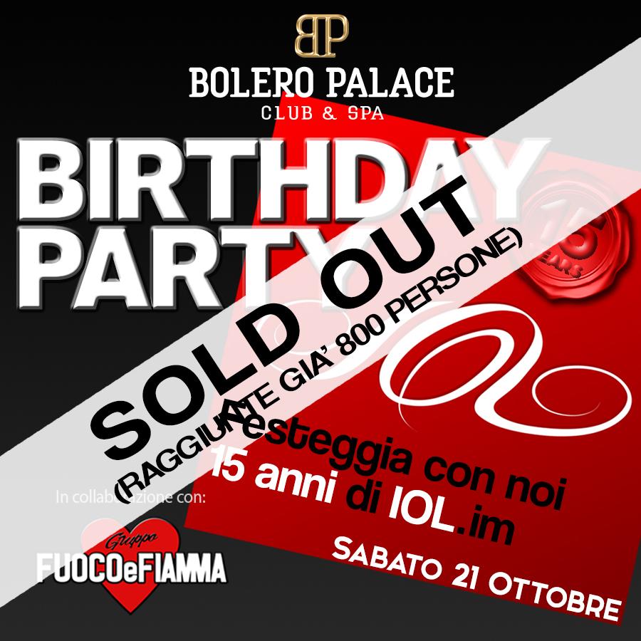 """Party Community di IOL """"Sabato 21 e Domenica 22 Ottobre 2017"""" al Club Bolero Palace"""
